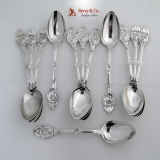 .Medallion Schulz And Fischer Set of 12 Teaspoons Sterling Silver 1870