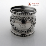 .Floral Scroll Repousse Napkin Ring Sterling Silver Alvin 1900 Monogram LD