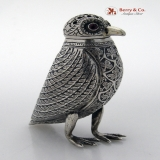 .Owl Shaker Ruby Eyes Sterling Silver 1900