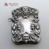 .Match Safe Repousse with Faces Sterling Silver 1900