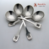 .Norman Hammered Gumbo Soup Spoons 4 Shreve Sterling Silver Monogram B