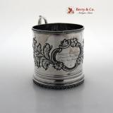 .Repousse Floral Mug Isaac Baldwin New Jersey 1845 Coin Silver