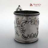 .Shell Foliate Repousse Mug Peter Krider 1850 Coin Silver No Monogram