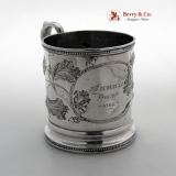 .  Acorn Repousse Mug Tift Whiting Fannie Dec 29 1854 Coin Silver