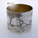 .Engraved French Napkin Ring Farming Scene 950 Sterling Silver Henri Chevron 1880 No Monogram
