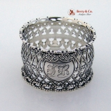 . Gothic Window Twisted Rope Napkin Ring Coin Silver 1860 Monogram JR