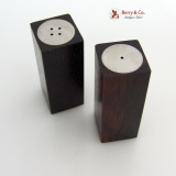 .Art Moderne Danish Sterling Silver And Rose Wood Salt And Pepper Shakers 1960