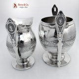.Medallion Creamer And Sugar Bowl Albert Coles Coin Silver 1850