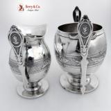 .Medallion Creamer And Sugar Bowl Albert Coles Coin Silver 1850