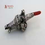 .Fancy Baby Rattle and Whistle Sterling Silver Coral 1880