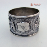 .Chinese Export Silver Napkin Ring Procession of Scholars 1880