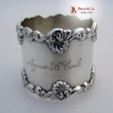.Baroque Shell and Scroll Napkin Ring Towle Sterling Silver 1890