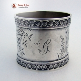 .Floral Engraved Napkin Ring Coin Silver 1860