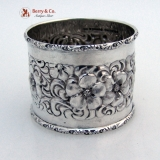.Beautiful Floral Repousse Napkin Ring Sterling Silver Duhme 1880