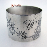 .French Sterling Silver Floral Engraved Napkin Ring 1890