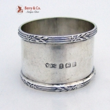 .Laurel Leaf and Ribbon Napkin Ring English Sterling Silver 1918 No Monogram