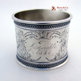 . Aesthetic Bird Napkin Ring Foliate Engraved Coin Silver 1881 Jeanette