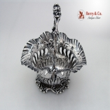 .Cherub Basket Floral Handle Scroll Shell Body and Base Sterling Silver 1850