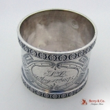 .Rosette Border Engraved Napkin Ring Ball Feet Coin Silver Aug 12 1875 SL