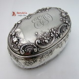 .Rose And Scroll Dresser Box Gorham Sterling Silver 1890