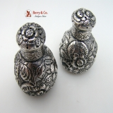 .Repousse Salt and Pepper Shakers Sterling Silver Durgin 1885