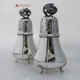 .Dutch First Standard Large Ornate Sugar Shakers Sterling Silver