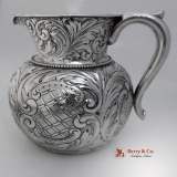 .Ornate Repousse Water Pitcher Gorham Sterling Silver 1901