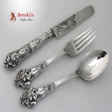.Figural Ornate 3 Pcs Youth Set Sterling Silver London 1852