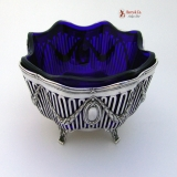 .German Cobalt Glass 800 Silver Open Work Serving Bowl Friedlander 1900