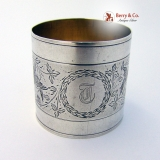 .Foliate Bird  Engraved Napkin Ring Coin Silver 1870 Monogram T