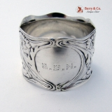 .Floral Double Walled Napkin Ring Gorham Sterling SIlver 1900 Monogram GBH