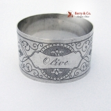 .Engraved Aesthetic Napkin Ring Coin Silver Olive 1870
