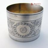 .Foliate Bird  Engraved Napkin Ring Coin Silver 1870 Monogram O