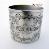 .Engraved Lily Ornate Napkin Ring Coin Silver 1875 O H Swan