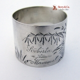 .Engraved Bright Cut Foliate Napkin Ring Sterling Silver 1875 Roberta from Mamma
