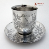 .Cup and Saucer Engraved Bird Thistles Coin Silver 1850 Elsie