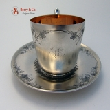 .Koehler and Ritter Grapes Cup and Saucer San Francisco Coin Silver 1870
