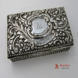 .Repousse Rectangular Box Sterling Silver 1893
