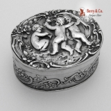.Figural Dancing Cherub Pill Box Oval Large 800 Silver 1900