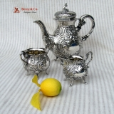 .Ornate Swedish Tea Set 830 Solid Silver 1952