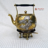 .Japanesque Mixed Metals Kettle on Stand Gorham 1883
