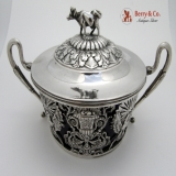 .Figural Cow Finial Ornate Sugar Basket Continental Silver 1880