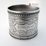 .Acorn Napkin Ring Coin Silver 1870 Crawford