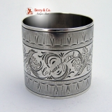.Engraved Rose Napkin Ring Coin Silver 1875 Crawford