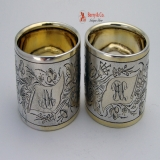 .Danish Solid Silver Pair Of Napkin Rings 1978
