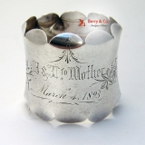 .Engraved Floral Napkin Ring J & L to Mother March 4 1893