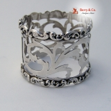.Baroque Scroll Napkin Ring Cut Work Whiting 1908 Sterling Silver No Monogram
