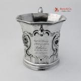 .Marksmanship Cup Henry Fletcher Louisville Kentucky 1853 Coin Silver