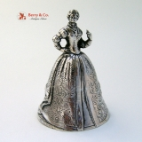 .Figural Victorian Dinner Bell Sterling Silver 1900