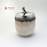 .Royal Worcester Sterling Mounted Porcelain Dresser Jar 1897